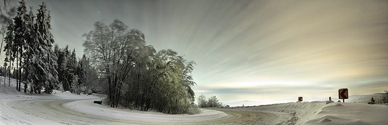 winter wald strasse hdr panorama